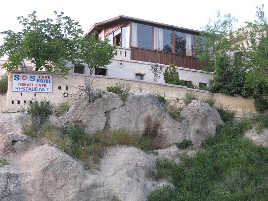 SOS Cave Hotel: View from street below