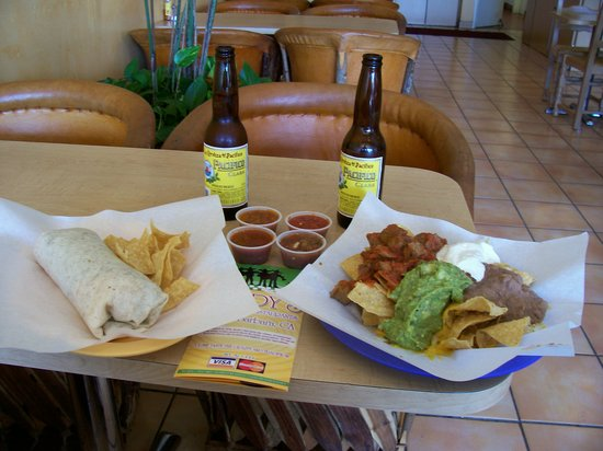 Rudy's Restaurant: Rudy's carne asada burrito, nachos with beef, salsa & hot sauce