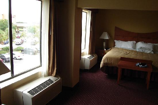 Wingate by Wyndham Convention Ctr Closest Universal Orlando: The two windows and bed area.