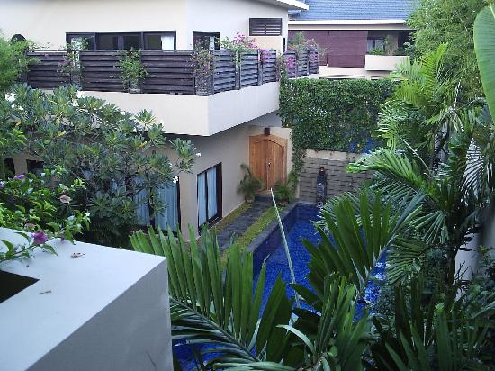 Alam Warna: Phirus-3 bedroom villa-looking across down to pool and across to one-bedroom apartment
