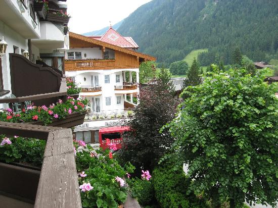 Berghof: View from balcony to main hotel & garden