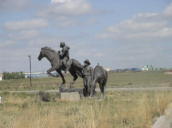 National Historic Trails Interpretive Center: The Pony Express statue at the entrance