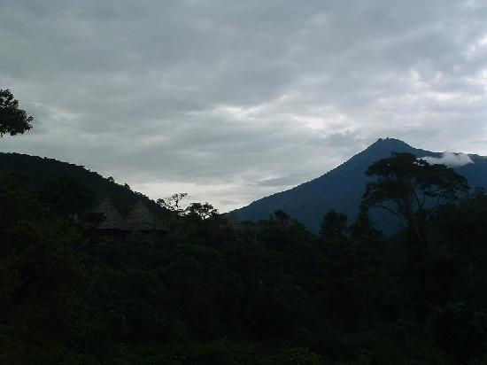 View on Mt. Meru and the lodge, to be seen on the left.