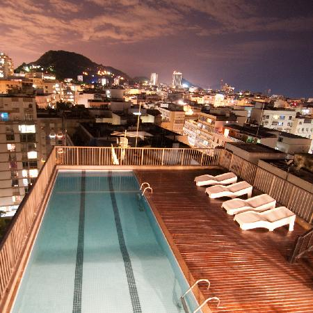 Roof top view at night from Royalty Copacabana Hotel