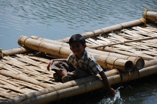 Pepper Green Village: My son on the raft