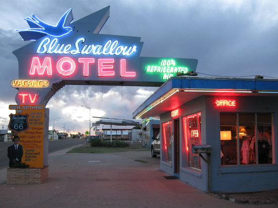 Blue Swallow Motel:                   Blue Swallow lit up at night