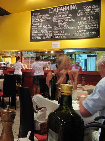 Capannina by Limoncello: menu chalk board should include pizza sizes