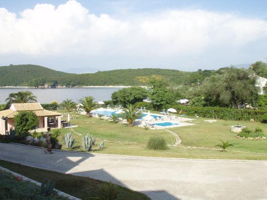Avlaki, Greece: view from balcony towards beach and pool