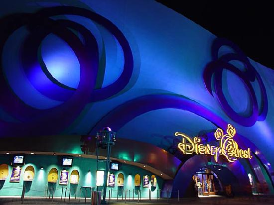 DisneyQuest Indoor Interactive Theme Park : Outside of Disney Quest at at at night