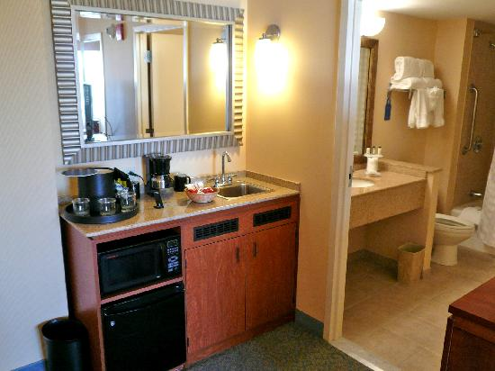 Micro Kitchen And View Into Bathroom - Picture Of Embassy Suites