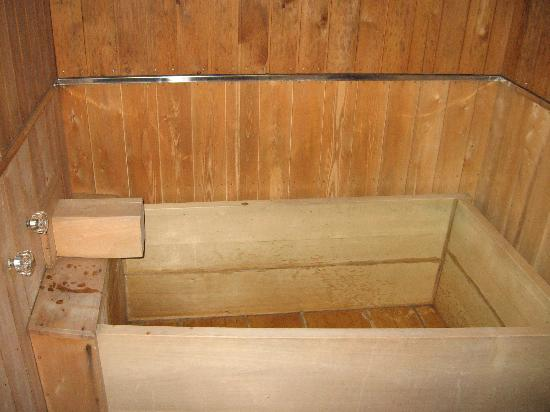 Hida Gasshoen: Huge wooden bath in our room!