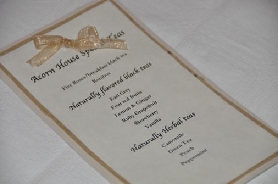 Acorn House: Tea selection