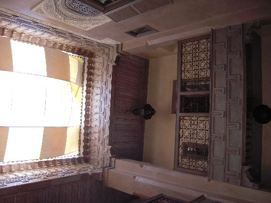 Riad Dar One: looking up at the second floor