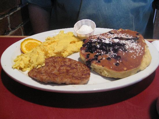 Hole In One: blueberry pancakes with eggs