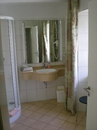Hotel Zum Simonbraeu: Sink and Shower in Room 9