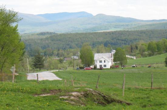 Enosburg Falls, VT: The B & B is in the distance as well as mountains.