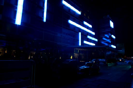 Taj Club House: Blue Neon casts a glow outside the hotel
