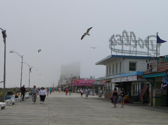 Rehoboth Beach Boardwalk: Boardwalk looking south on a foggy day