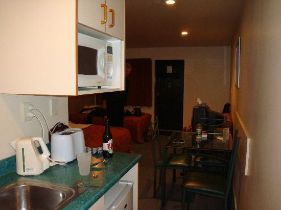 The Halswell Lodge: kitchenette down side of room