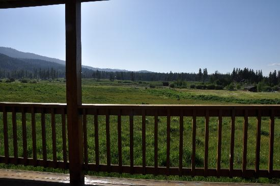 Lodge at Whitehawk: Overlooking the meadow from the cabin's porch
