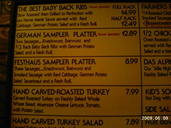 Busch Gardens Williamsburg: Das Festhaus Menu