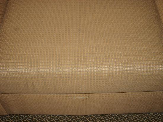 Comfort Suites Seaford: Stained and ripped sofa