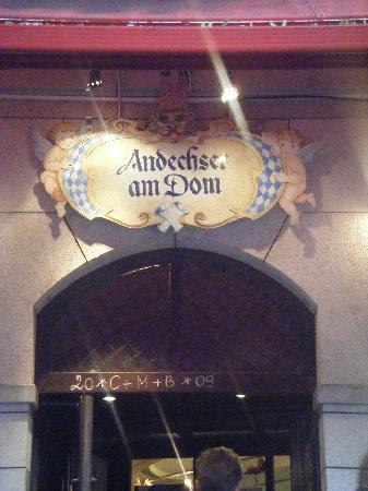 Andechser am Dom: Sign in Back Patio