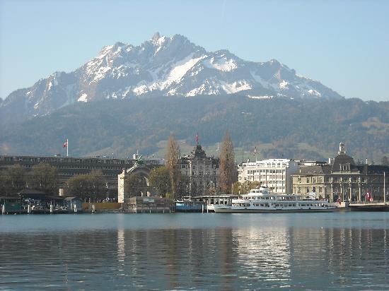 PALACE LUZERN: View from the hotel across Lake Luzern