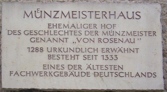 Muenzmeisterhaus: Gedenktafel des Coburger Münzmeisterhauses
