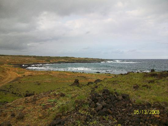 Naalehu, Havai: Green Sand beach from afar
