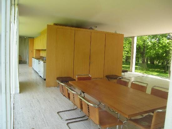 Plano, IL: Kitchen (left) and dining area of house from the terrace