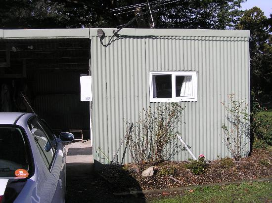"Harcourts Holiday Park: Outside view of the ""shed"""