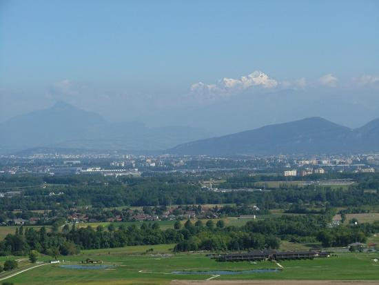 Crozet, France : view from the hotel overlooking geneva valley with Mont Blanc in the background