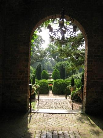 View of the formal gardens from the mansion