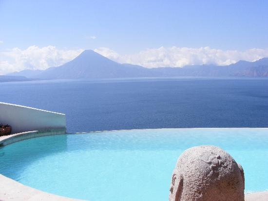 Santa Catarina Palopo, Guatemala: View of infinity pool overlooking lake