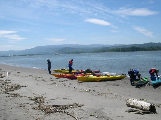 Columbia River Kayaking Day Tours: lunch break on the beach, Columbia river