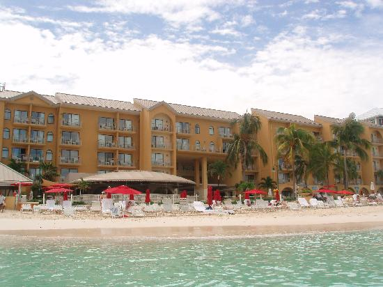 Grand Cayman Marriott Beach Resort: a look from the water to the hotel