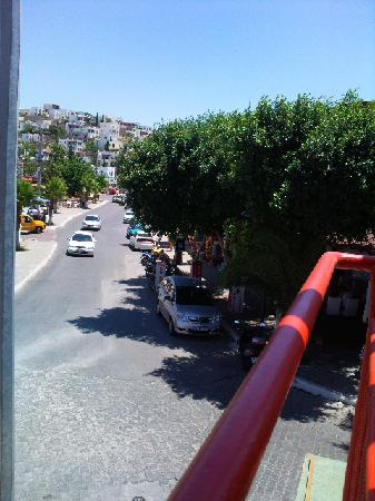 Dilek Aparthotel: view from the Tempo - the Dilek is up this road on the left