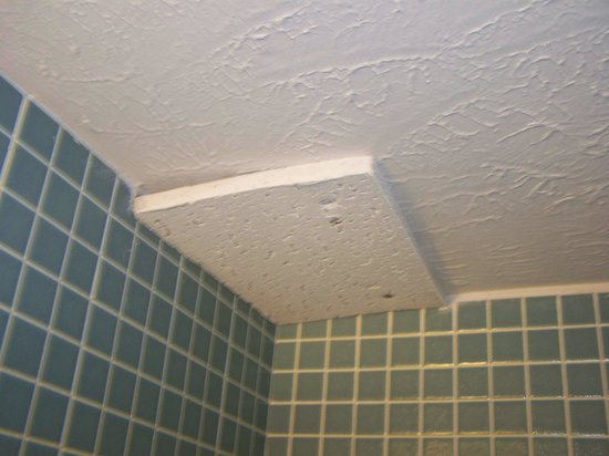 ceiling tile patch in shower - Picture of Oceanview Motel, Wildwood