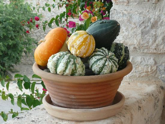 Can Furios Petit Hotel: Gourds on a ledge outside the bar