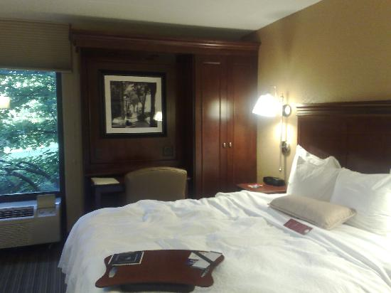 Hampton Inn Chicago/Westchester (Oak Brook) : Window /desk/ armoire/ king bed area