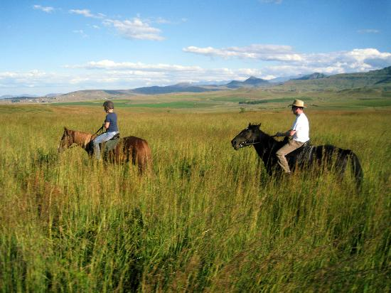 uKhahlamba-Drakensberg Park, Zuid-Afrika: Us on the horses back..