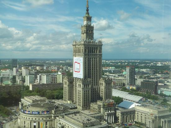 Palace of Culture and Science: Palace of Culture, as viewed from the 33rd floor of the Marriott