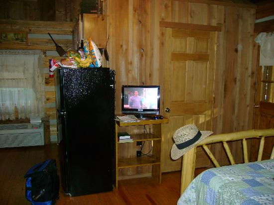 Silver Dollar City's Wilderness: Flat screen TV/closed door is bathroom