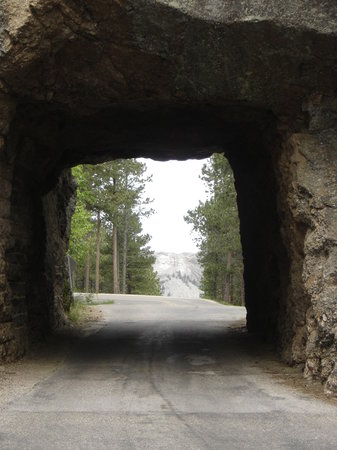 Iron Mountain Road: Rushmore seen through the tunnel