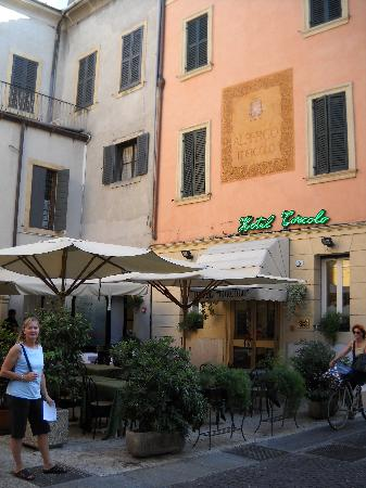 The patio in front of the Hotel Torcolo
