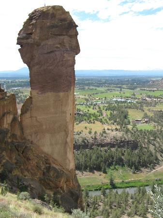 Smith Rock State Park: Monkey Face.  Note the climber on top.