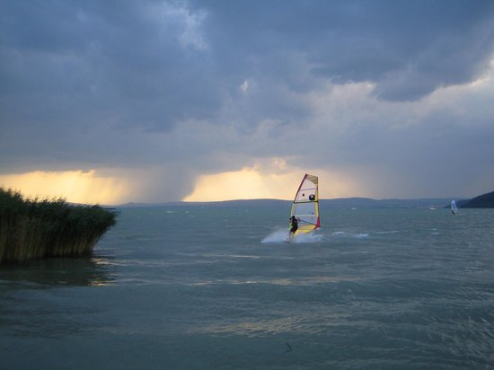 Somogy County, Hungary: Lake Balaton, surf in the storm