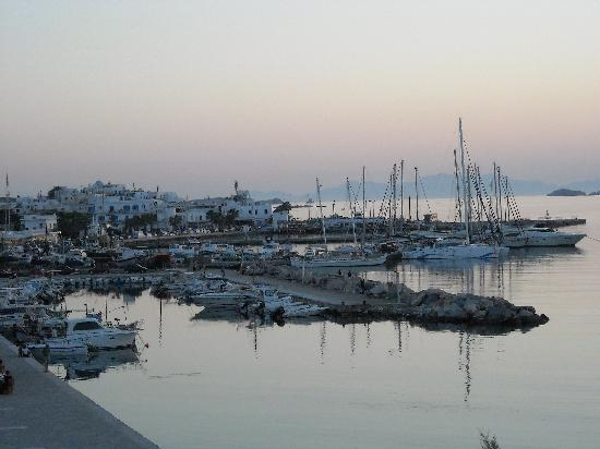 View of the harbor from our room at Hotel Paros- the hotel is a quick five-minute walk from the