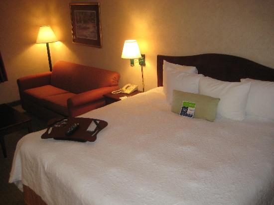 Hampton Inn Chicago Naperville: Nice bed with the lapboard